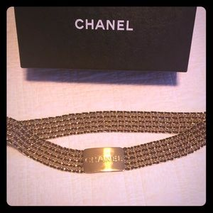 1HR sale! Chanel gold/black leather chain belt
